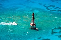 High angle view of a lighthouse in the sea, Florida Keys, Florida, USA