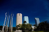Low angle view of skyscrapers in a city, Plant Park, University Of Tampa, Tampa, Florida, USA