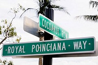 Close-up of signboards, Royal Poinciana Way, Palm Beach, Florida, USA