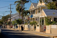 Buildings at the roadside, Duval Street, Key West, Florida, USA