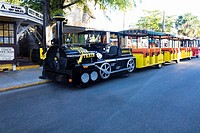 Tourist train on the road, Key West, Florida, USA