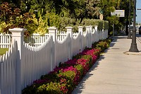 Fence along a sidewalk, Truman Avenue, Key West, Florida, USA