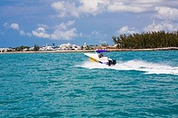 Speedboat moving in the sea, Key West, Florida, USA