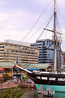 Tall ship moored at a harbor, USS Constellation, Inner Harbor, Baltimore, Maryland, USA (thumbnail)