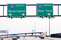 Low angle view of road signboards over the road, Baltimore, Maryland, USA (thumbnail)
