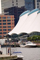 Boats docked at a harbor, Columbus Center, Inner Harbor, Baltimore, Maryland, USA