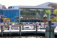 Buildings near a dock, Maryland Science Center, Baltimore, Maryland, USA