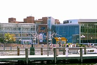 Buildings at the waterfront, Maryland Science Center, Inner Harbor, Baltimore, Maryland, USA