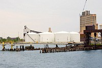 Storage tanks at a harbor, Inner Harbor, Baltimore, Maryland, USA