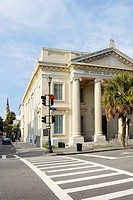 Palm tree in front of a bank, National Bank of South Carolina, Charleston, South Carolina, USA