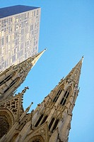 Low angle view of a cathedral, St  Patrick's Cathedral, Manhattan, New York City, New York State, USA