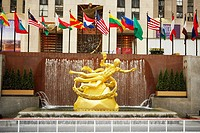 Statue in front of a building, Rockefeller Center, Manhattan, New York City, New York State, USA