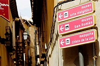 Directional signboards on a pole, Toledo, Spain