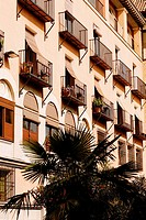 Low angle view of balconies of a building, Toledo, Spain