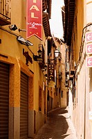 Buildings along an alley, Toledo, Spain