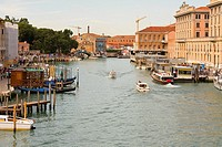 Boats docked in a canal, Grand Canal, Venice, Italy