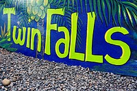 Close-up of a banner, Twin Falls, Maui, Hawaii Islands, USA