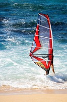 Man windsurfing in the sea, Hookipa Beach, Maui, Hawaii Islands, USA