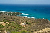 High angle view of a coastline, Diamond Head, Waikiki Beach, Honolulu, Oahu, Hawaii Islands, USA