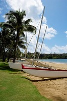 Sailboats on the beach, Nawiliwili Beach Park, Kauai, Hawaii Islands, USA