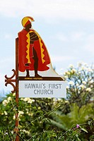 Low angle view of an information board, Mokuaikaua Church, Kailua-Kona, Kona, Big Island, Hawaii Islands, USA