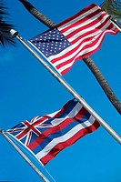 Low angle view of flags, Honolulu, Oahu, Hawaii Islands, USA