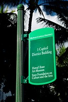 Low angle view of an information board, Honolulu, Oahu, Hawaii Islands, USA