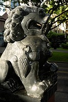Close-up of a lion statue in a park, Honolulu, Oahu, Hawaii Islands, USA