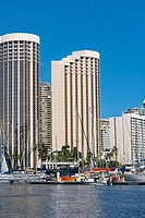Skyscrapers at the waterfront, Honolulu, Oahu, Hawaii Islands, USA