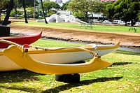Kayaks in a park, Honolulu, Oahu, Hawaii Islands, USA