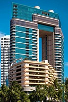 Low angle view of skyscrapers in a city, Honolulu, Oahu, Hawaii Islands, USA