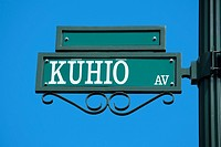 Low angle view of a signboard, Honolulu, Oahu, Hawaii Islands, USA