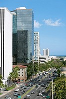 High angle view of traffic on the road, Honolulu, Oahu, Hawaii Islands, USA