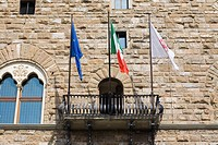 Low angle view of the balcony of a palace, Pallazo Vecchio, Piazza Della Signoria, Florence, Italy