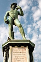 Low angle view of a statue, Michelangelo's David, Piazzale Michelangelo, Florence, Tuscany, Italy