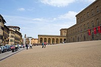 Tourists in front of a palace, Palazzo Pitti, Florence, Italy