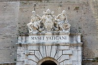 Low angle view of statues on a museum, Vatican Museum, Rome, Italy (thumbnail)