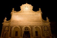 Low angle view of a church lit up at night, Fontana dell'Acqua Paola, Rome, Italy
