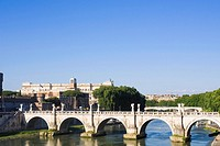Arch bridge across a river, Ponte Sant Angelo, Rome, Italy