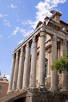 Low angle view of the old ruins of a temple, Faustina Temple, Rome, Italy