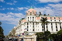 Low angle view of a hotel at the roadside, Hotel Negresco, Promenade des Anglais, Nice, France