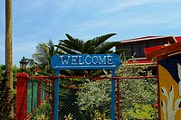 Welcome sign in front of a building, San Andres, Providencia y Santa Catalina, San Andres y Providencia Department, Colombia