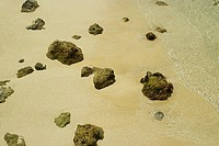 High angle view of rocks on the beach, San Andres, Providencia y Santa Catalina, San Andres y Providencia Department, Colombia