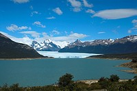 Lake passing through a mountain range, Moreno Glacier, Argentine Glaciers National Park, Lake Argentino, El Calafate, Patagonia, Argentina