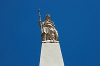 Low angle view of a statue on a monument, Piramide De Mayo, Plaza De Mayo, Barrio De Monserrat, Buenos Aires, Argentina
