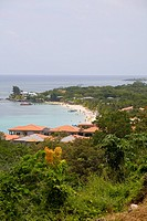 Tourist resorts on the beach, West Bay Beach, Roatan, Bay Islands, Honduras