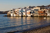 Buildings at the waterfront, Mykonos Town, Mykonos, Cyclades Islands, Greece