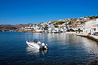 Motorboat in the sea, Mykonos, Cyclades Islands, Greece
