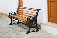 Bench outside of a building, Patmos, Dodecanese Islands, Greece