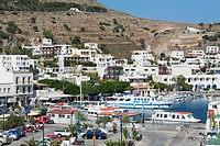 High angle view of a harbor in a city, Skala, Patmos, Dodecanese Islands, Greece